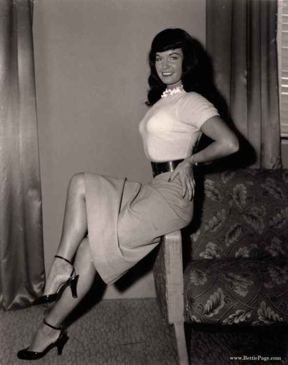 Bettie Page in a Pencil Dress
